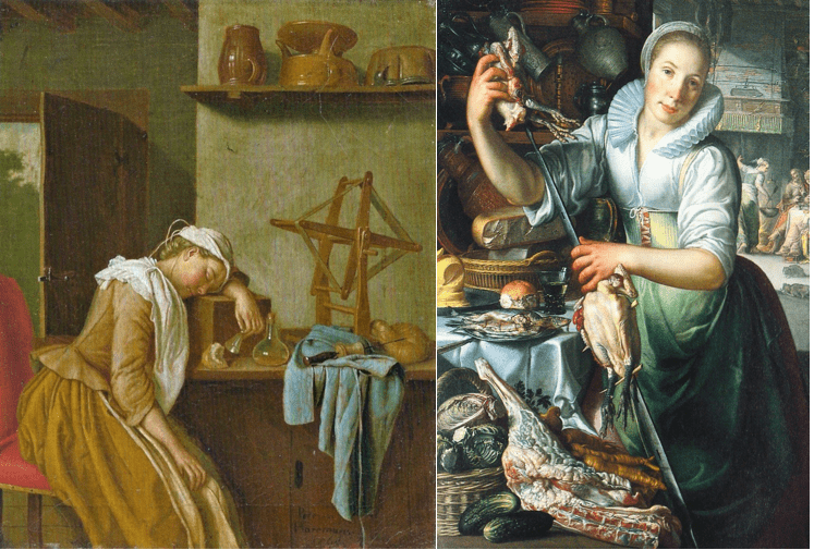 Examples of art depicting the servant class before The Milkmaid was painted.