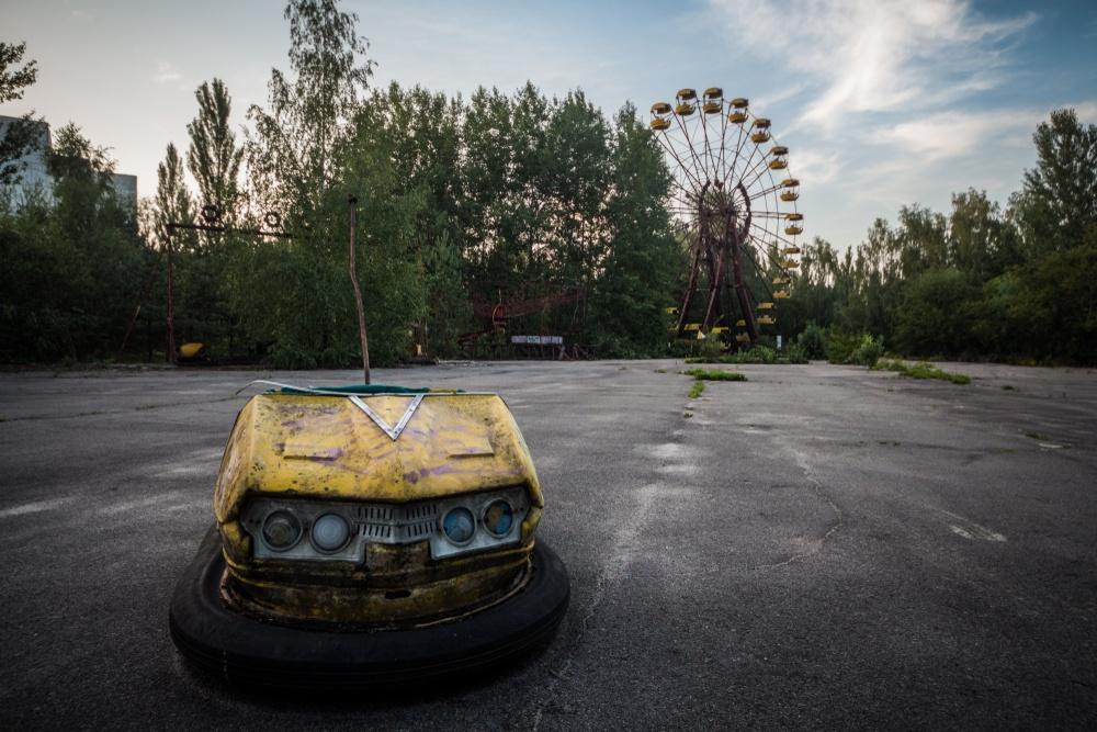 An abandoned bumper car at Pripyat Amusement Park.