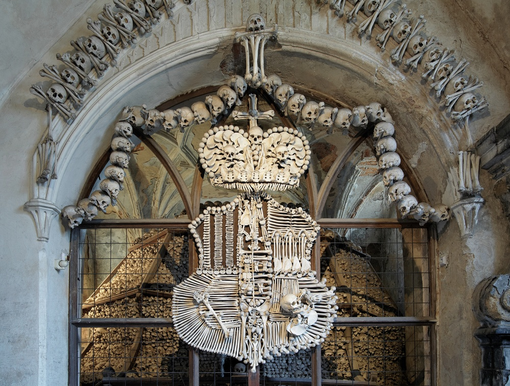 A coat of arms made entirely of bones.