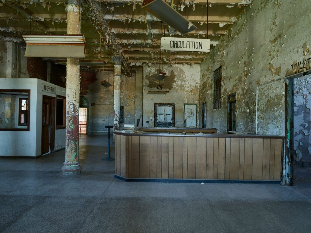 The library of Ohio State Reformatory in Mansfield, Ohio