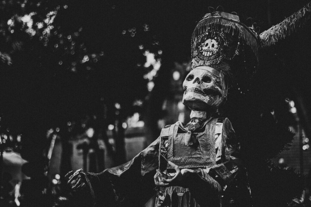 A pageant puppet for Día de Los Muertos