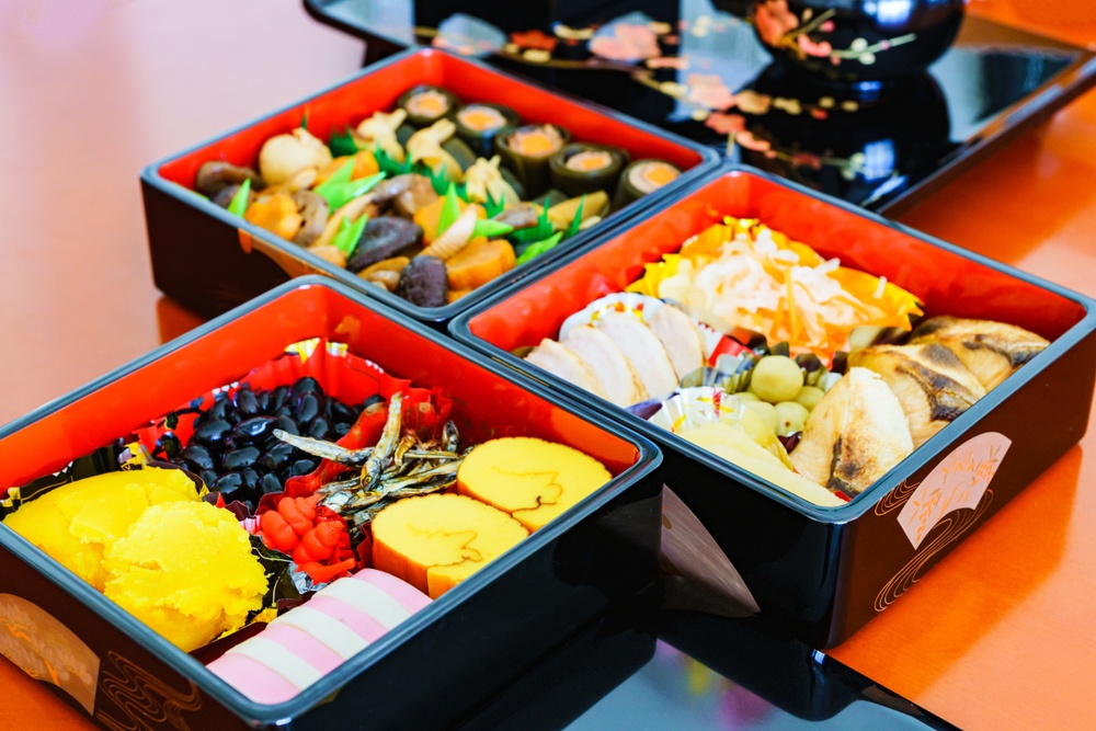Traditional Japanese New Year's food, called osechi ryori