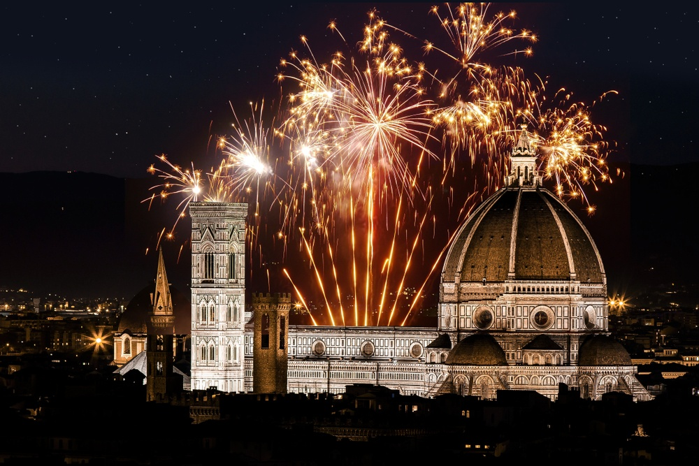 Fireworks over the Duomo in Florence, Italy
