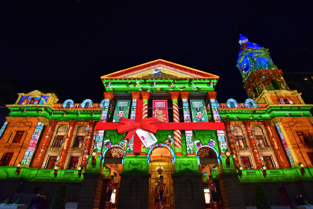 Christmas Projections event in Melbourne.