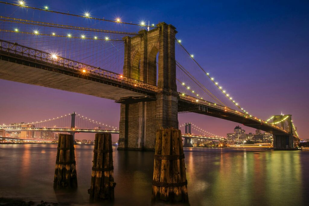 Brooklyn Bridge over East River in New York