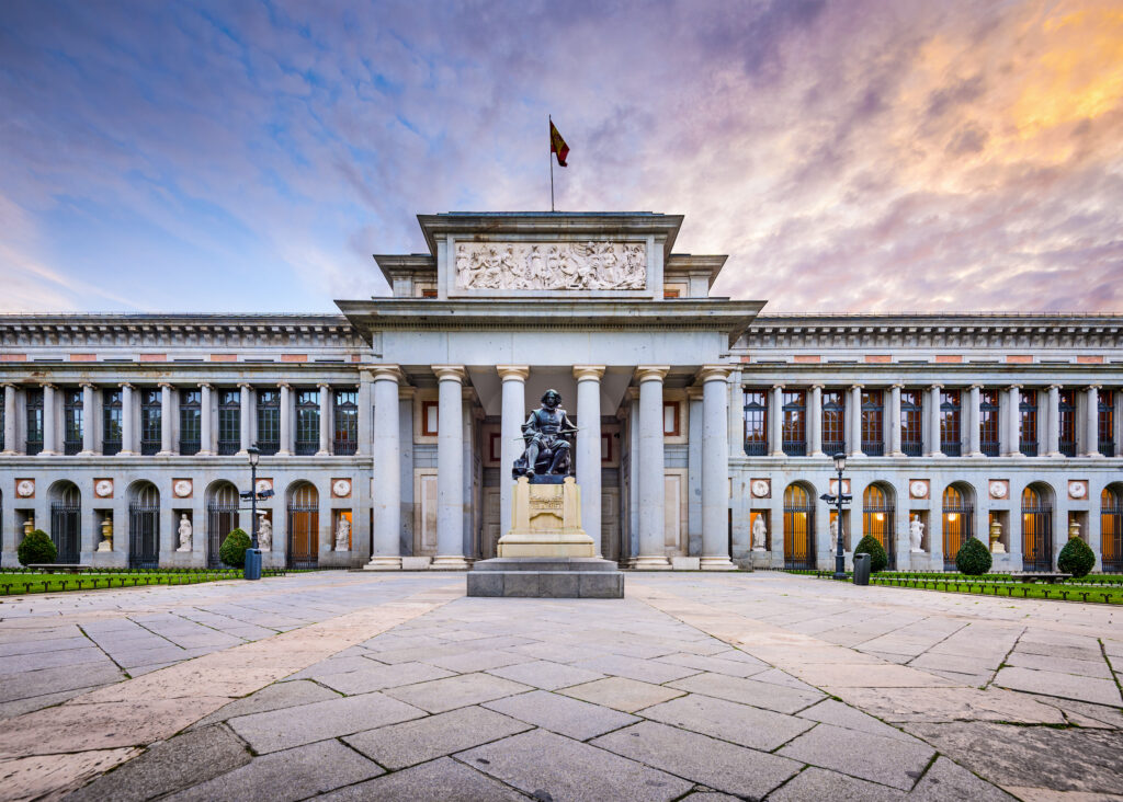 The exterior facade of the Prado Museum in Madrid, one of the most famous museums in Spain.
