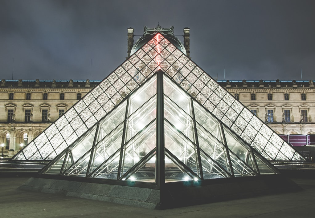 The iconic Louvre Pyramid at night.