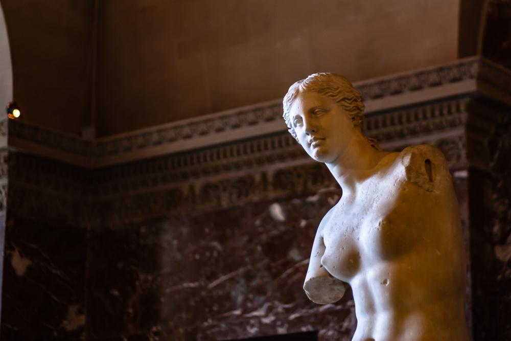 Venus de Milo, displayed in the Louvre.