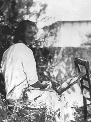 Charlotte Salomon painting in her garden