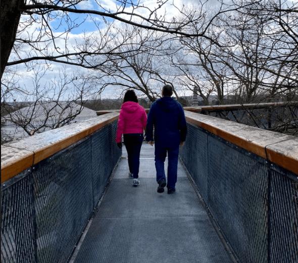 Walking on a suspended bridge at Kew Gardens