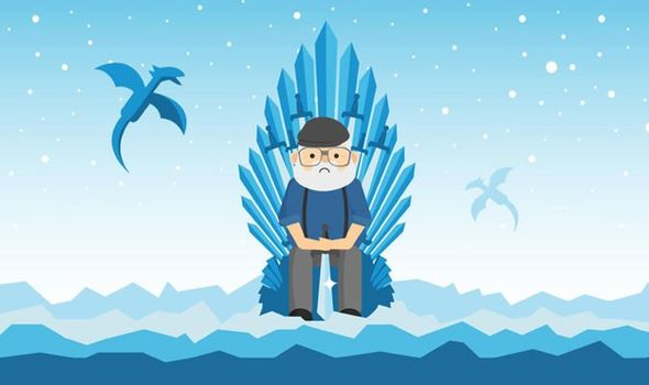 An illustrated image of author George R.R. Martin sitting on throne with dragons flying in the background.