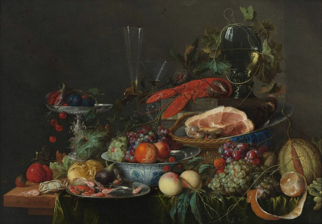 Still Life with Ham, Lobster, and Fruit by Jan Davidsz. de Heem, a banquet-style painting.