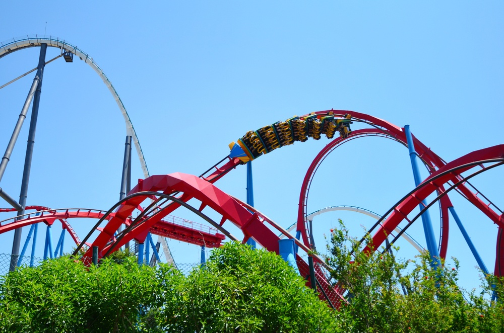 The twisting rollercoasters of PortAventura, one of the most popular Barcelona day trips for thrill-seekers.