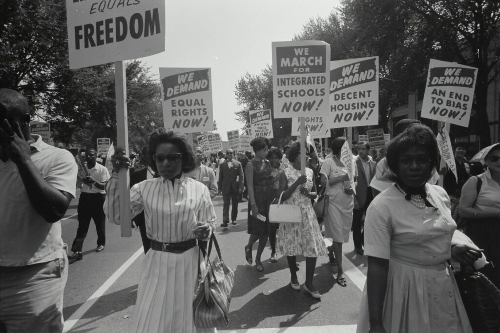 Civil rights activists march on Washington D.C. in 1963.