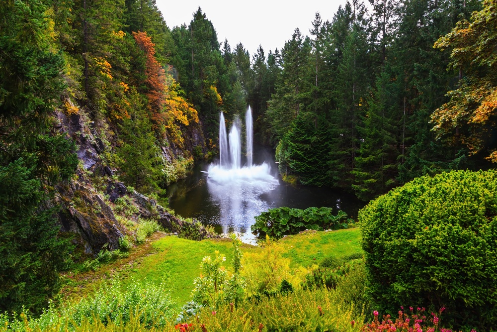 Another image of Butchart Gardens, featuring a waterfall.