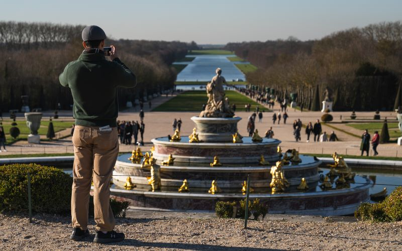 View of the Grand Canal from the back of the Palace of Versailles