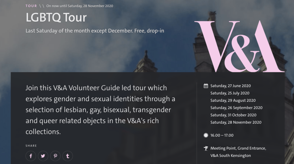 Join V&A's LGBTQ Tour to get a crash course in LGBTQ+ art and artists