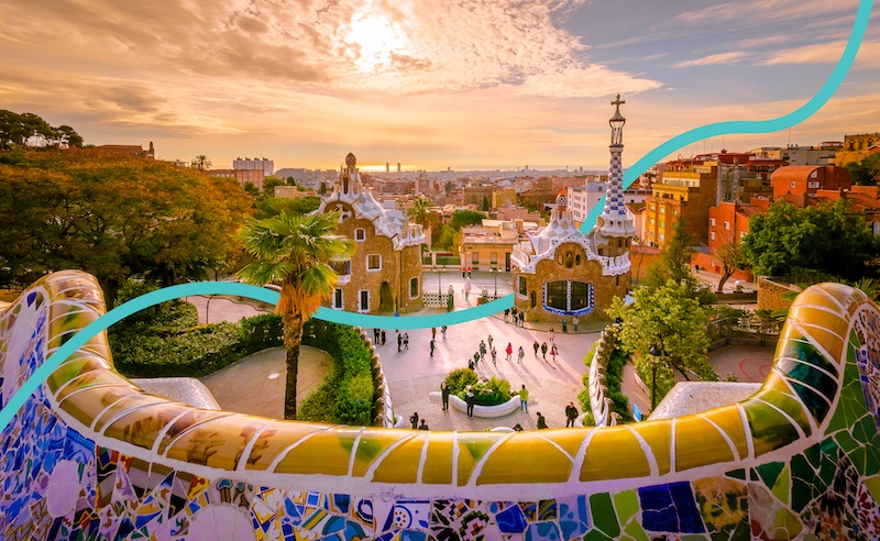 Park Guell is another famous Barcelona landmark designed by Gaudi.