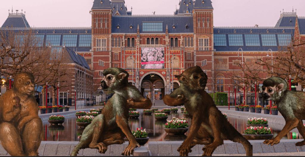 Painted monkeys appear outside the Rijksmuseum.