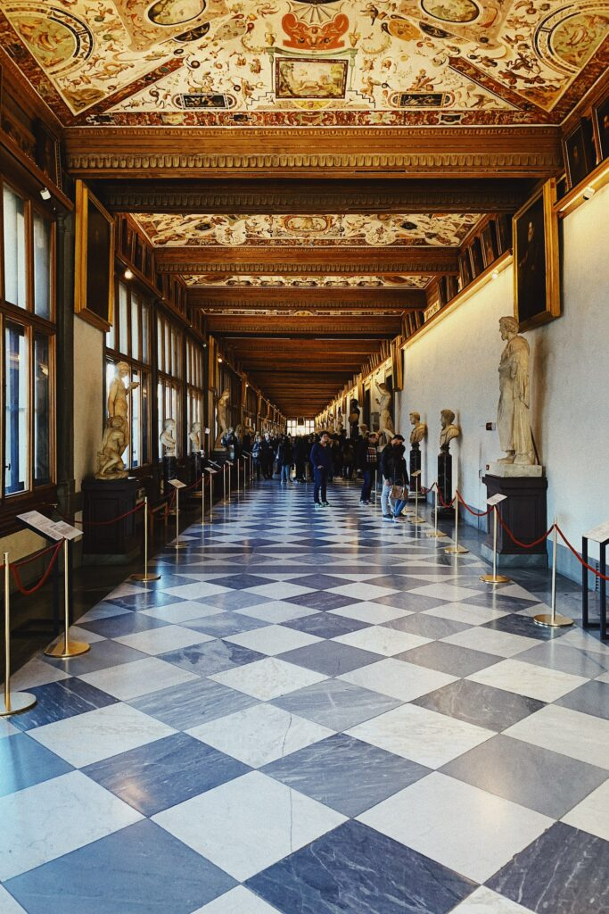The decadent hallways are home to many Uffizi Gallery artworks