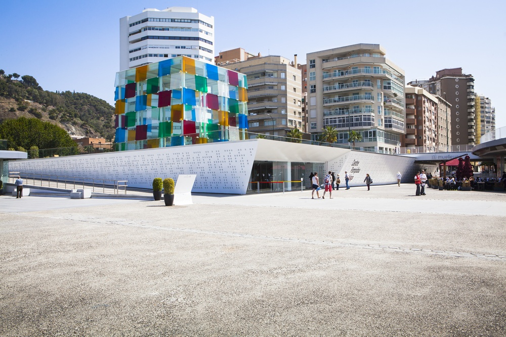 An exterior photo of the Centre Pompidou Málaga, the Spanish version of its French counterpart museum.