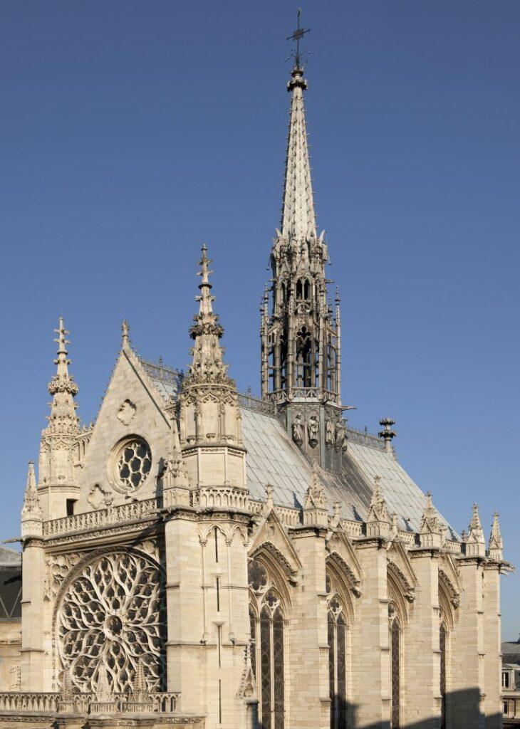 The exterior of La Sainte-Chapelle showcasing Gothic architecture