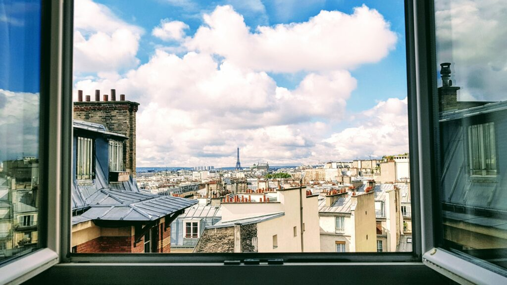 View from Paris window, Eiffel Tower in background