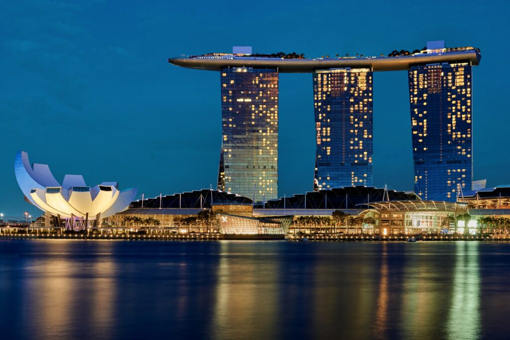 Marina Sands Bay at the Singapore waterfront, the most popular landmark in Singapore