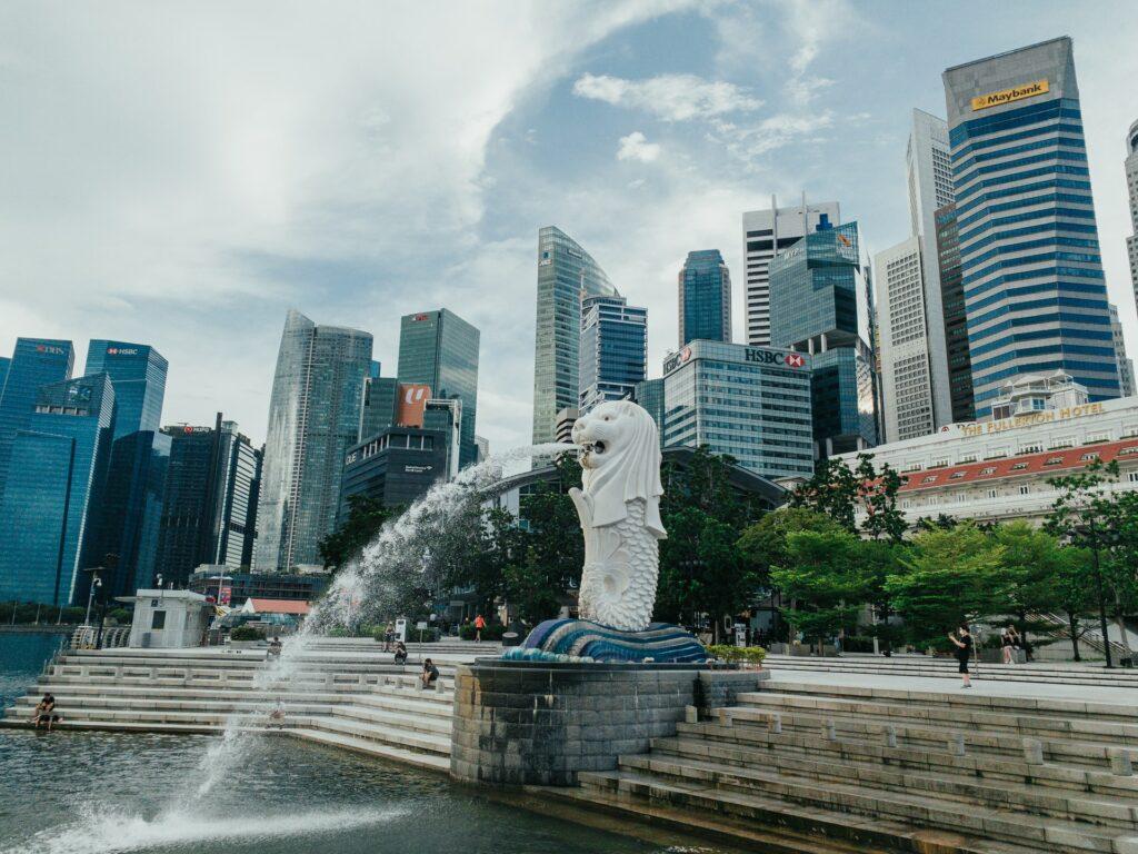 Merlion park, a famous landmark in Singapore