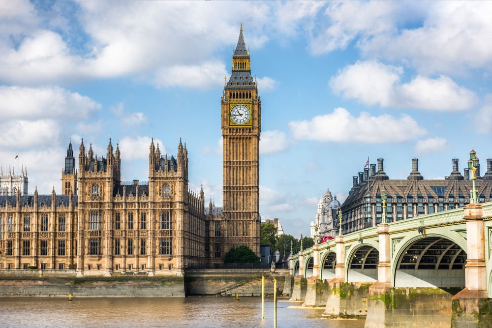 Big Ben, an iconic London landmark part of the Palace of Westminster.