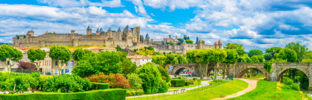 View of old town of Carcassonne and pont vieux in France, medieval city in France