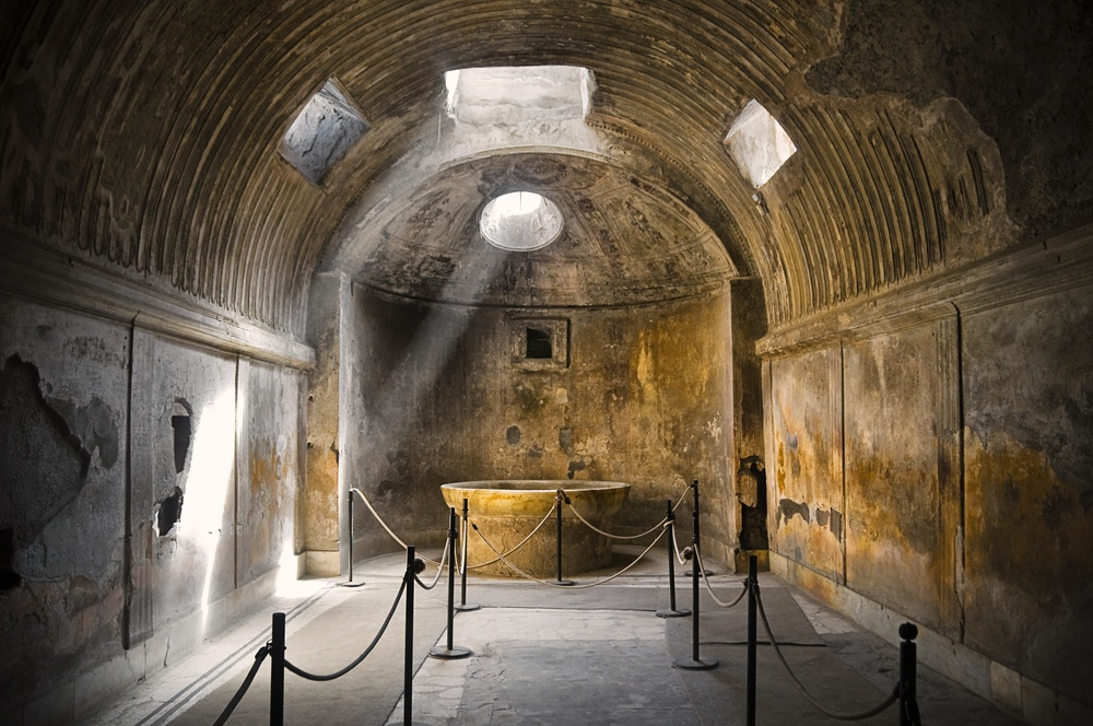The stunning public baths of Pompeii are a must when visiting the lost city.