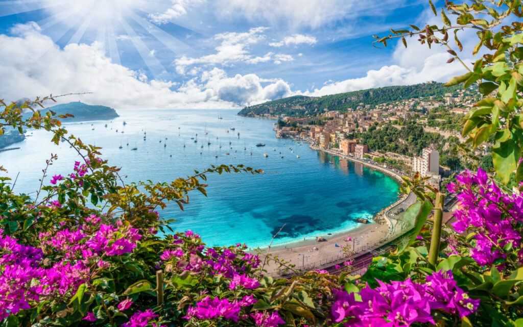 Aerial view of French Riviera coast with medieval town Villefranche sur Mer, Nice region