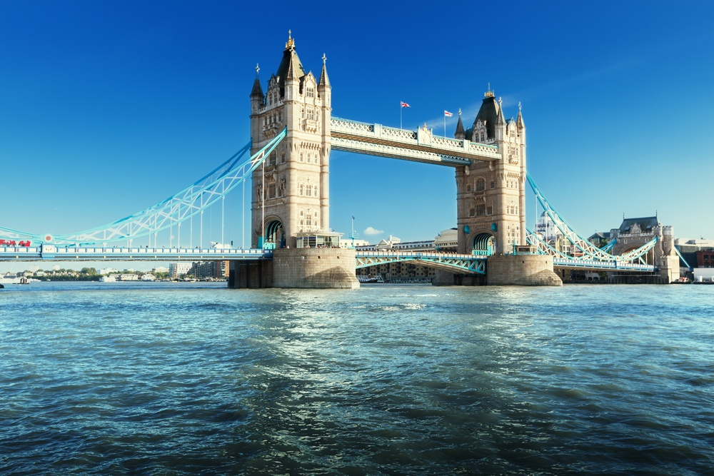 The Tower Bridge spanning across the River Thames.