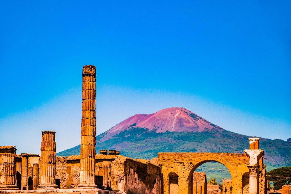 Pompeii ruins with view of Mount Vesuvius.