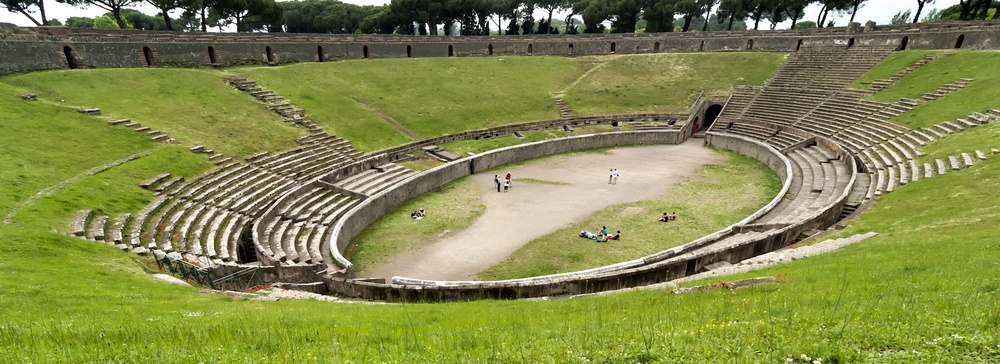 A view of the area floor inside Pompeii's amohitheatre.