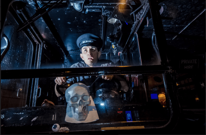 A picture of a driver of the Edinburgh Ghost Bus Tour.