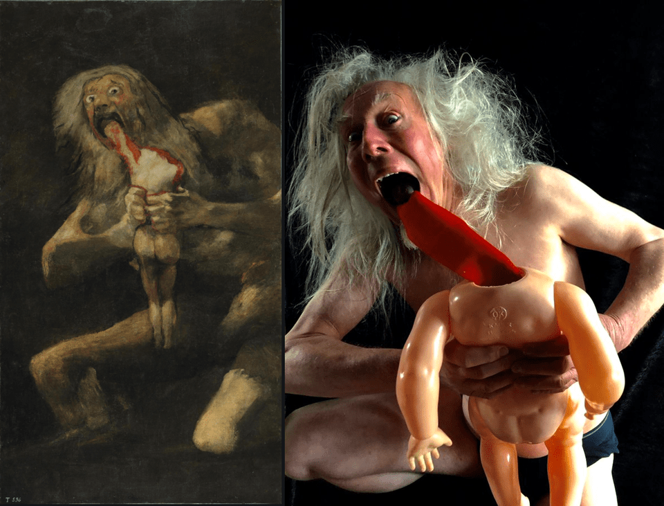 Saturn devouring his son recreated on Reddit art challenge