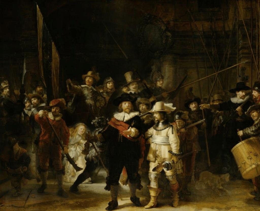 """Il famoso """"Nightwatch"""", dipinto da Rembrandt van Rijn. La replica a grandezza naturale ha visitato case di cura in tutto il paese dei Paesi Bassi"""