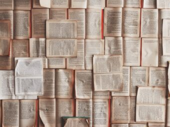 Book pages pinned to wall