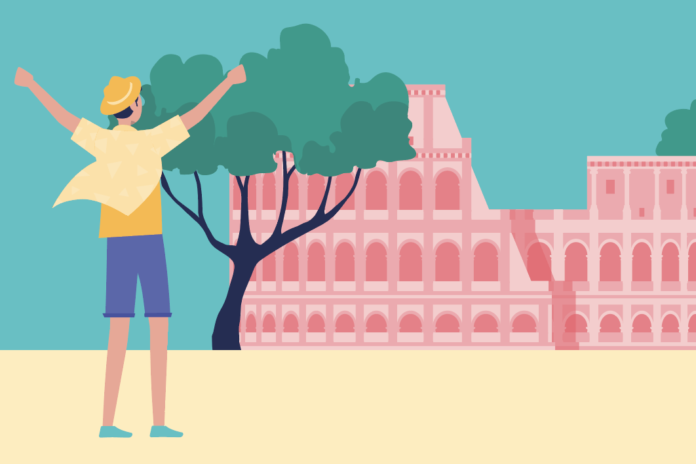 man happy in front of the Collosseum